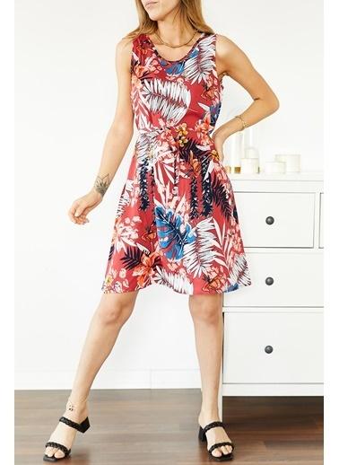 XHAN Bordo Çiçek Desenli Kolsuz Elbise 0Yxk6-43857-05 Bordo